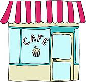 Vector illustrated cute street cafe Clip Art.