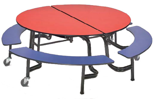Amtab Mobile Round Cafeteria Table With Benches.