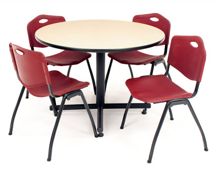 All Kobe Base Cafe Table And Four M Stacker 4700 Chairs By Regency.