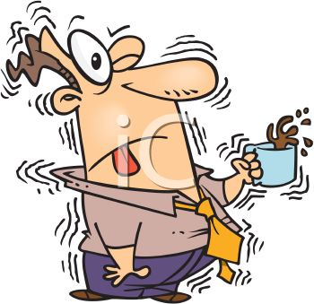 Cartoon of a Man Shaking from Too Much Caffeine.