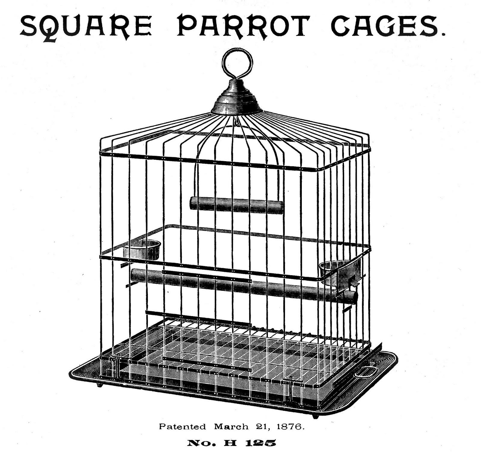 Vintage Bird Cage Clipart.