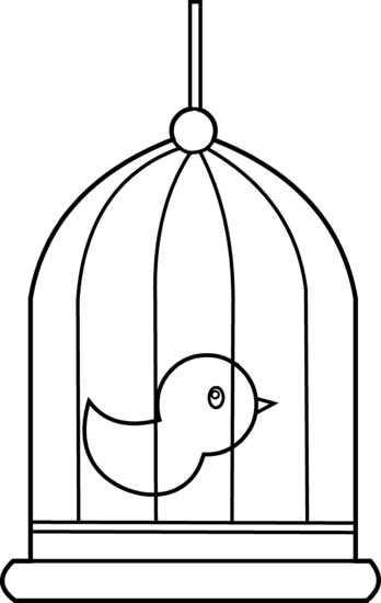 Bird cage clipart black and white.