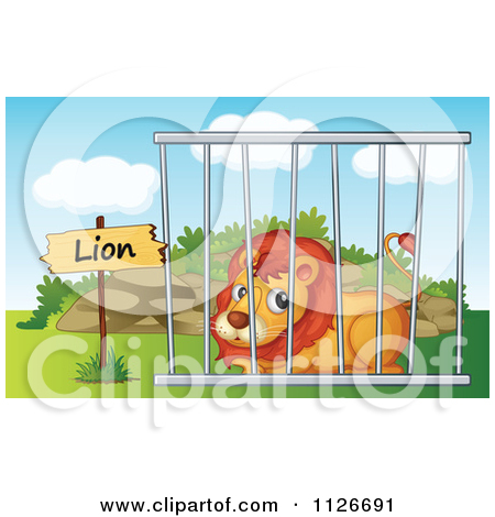 Cartoon Of A Zoo Lion In A Cage 2.