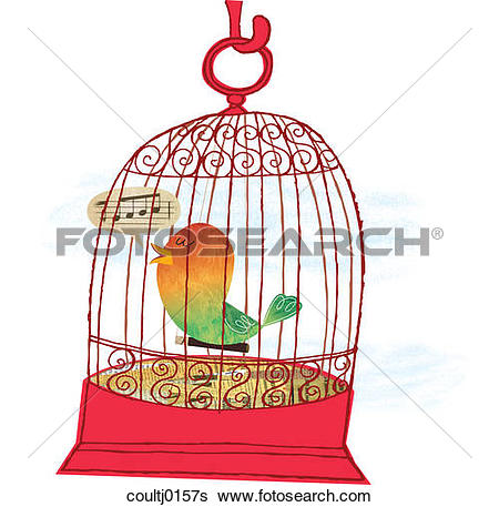 Stock Illustration of A Caged Bird Singing coultj0157s.