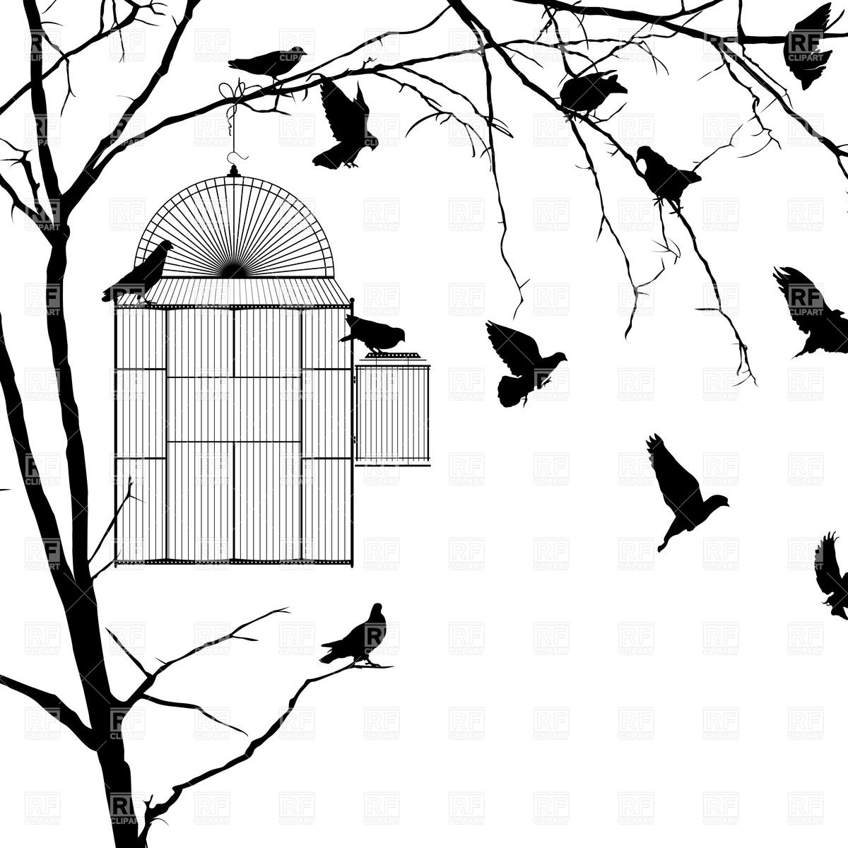Silhouettes of pigeons and birdcage.