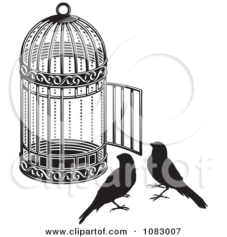 Clipart Black And White Birds By An Open Cage.