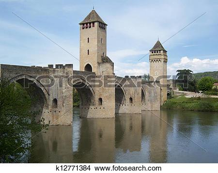 Stock Photo of Valentre Bridge in Cahors. k12771384.