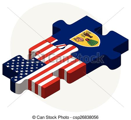 Clipart Vector of USA and Turks and Caicos Islands Flags in puzzle.