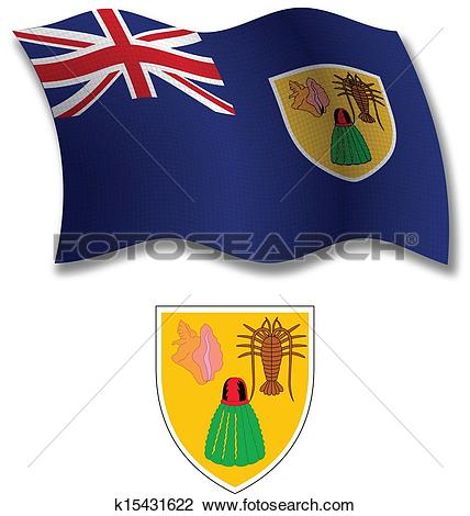 Clipart of turks and caicos islands textured wavy flag vector.