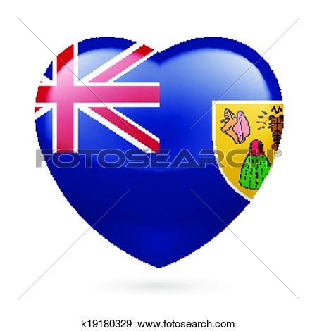 Clip Art of Heart icon of Turks and Caicos Islands k19180329.