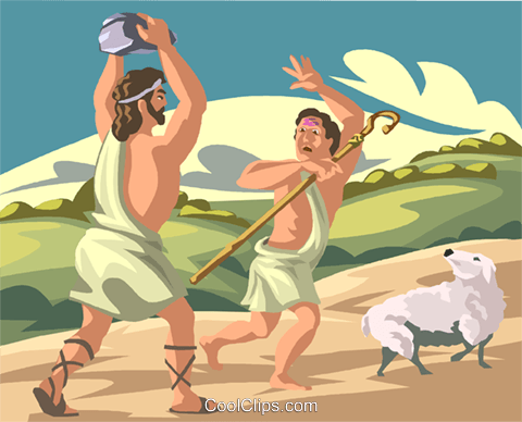 Cain and Abel Royalty Free Vector Clip Art illustration.