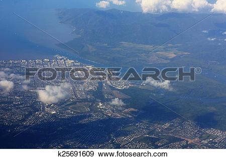 Stock Photograph of aerial view of Cairns k25691609.