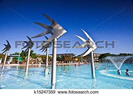 Stock Photograph of Swimming lagoon and Fish Sculpture in Cairns.