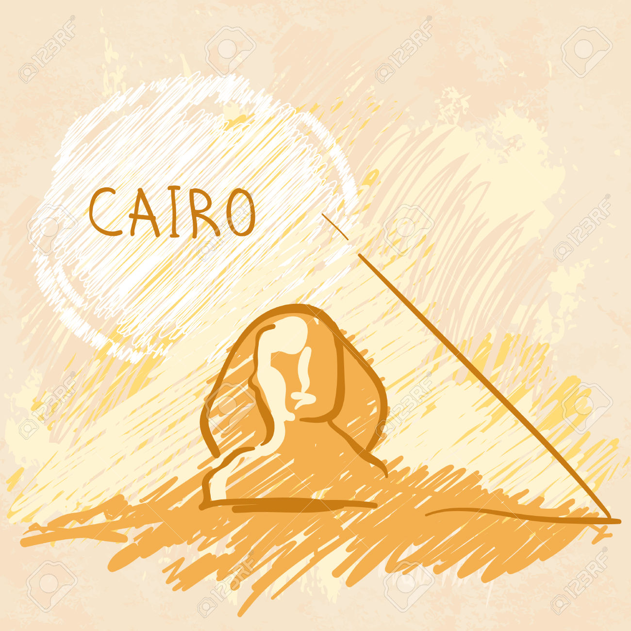 World Famous Landmark Series: Pyramids And Sphinx, Cairo, Egypt.