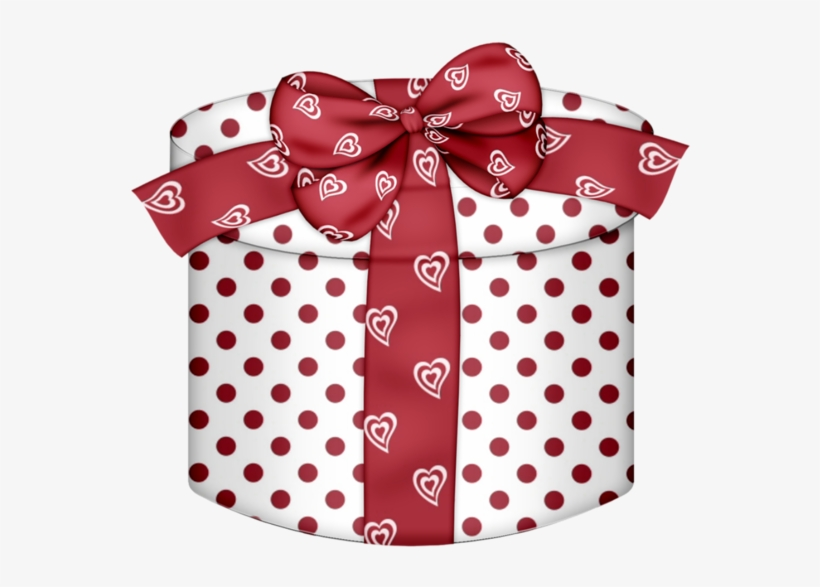 White Round Gift Box White Red Heart Png Clipart.