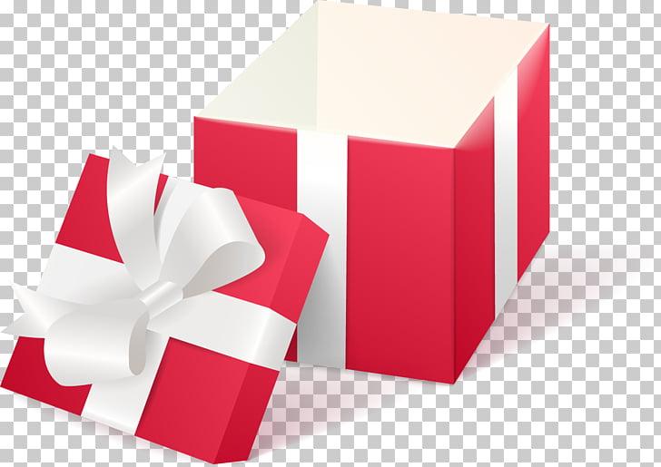 Ilustración de caja de regalo roja y blanca, caja decorativa.