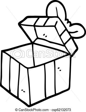 Una caja de regalos abierta de dibujos en blanco y negro..