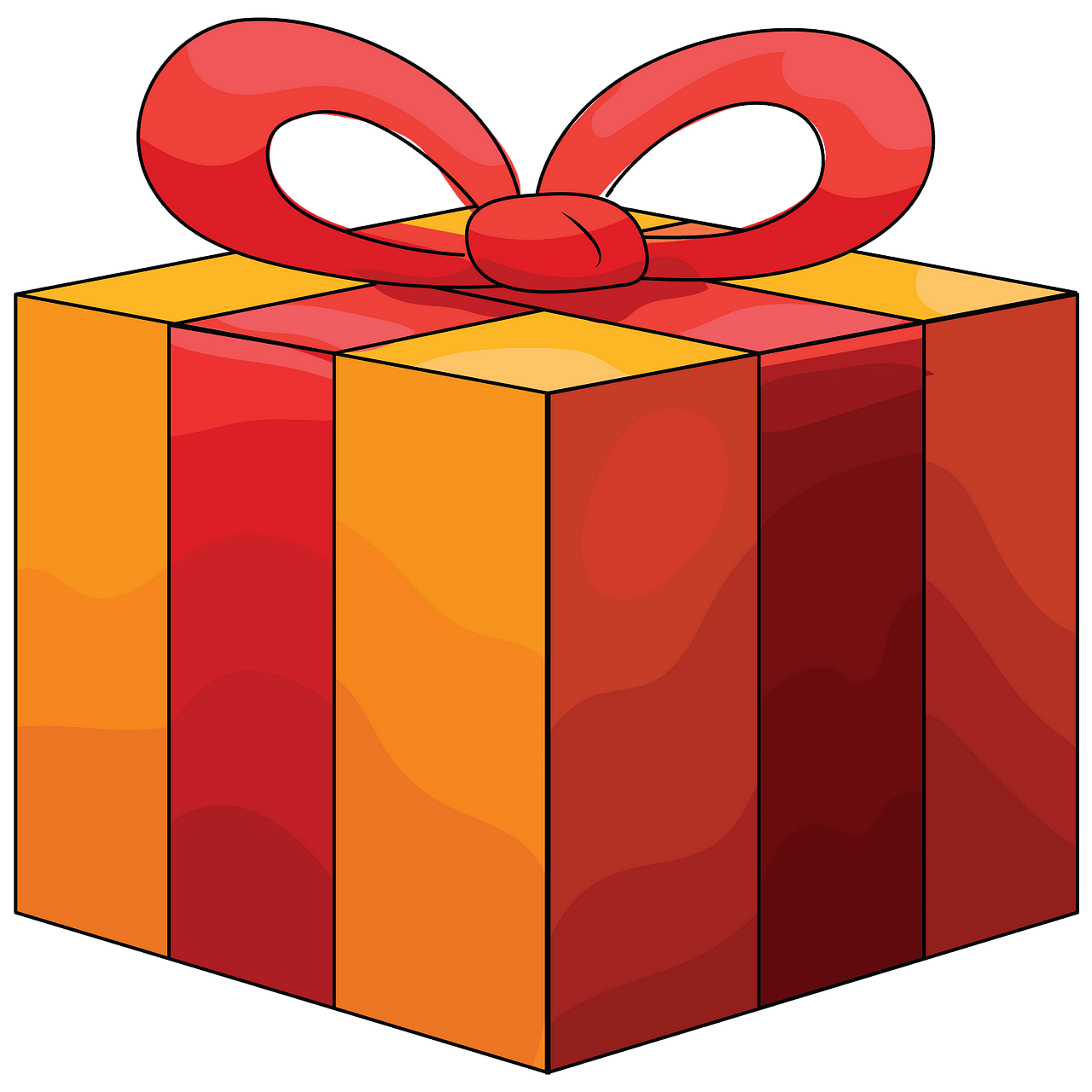 Caja de regalo naranja con cinta roja clipart. Dibujos.