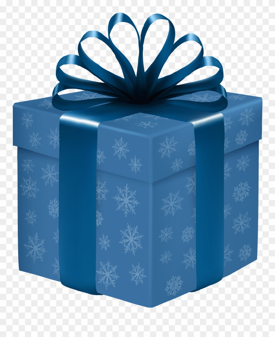 Blue Gift Box With Snowflakes Png Clipart.
