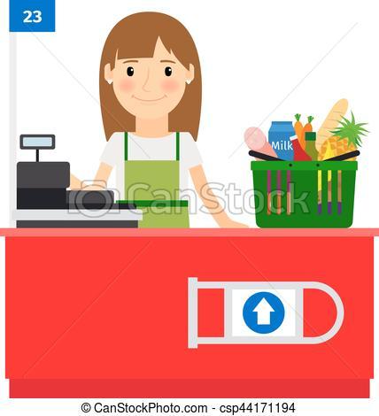 Una cajera en su lugar de trabajo. asistente de tienda de.