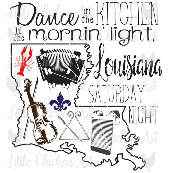 Louisiana Saturday Night, Cajun, cut file, clip art, SVG, DXF, Silhouette  Cameo, Cricut, Scrapbook, Instruments, Crawfish, Fleur de lis.