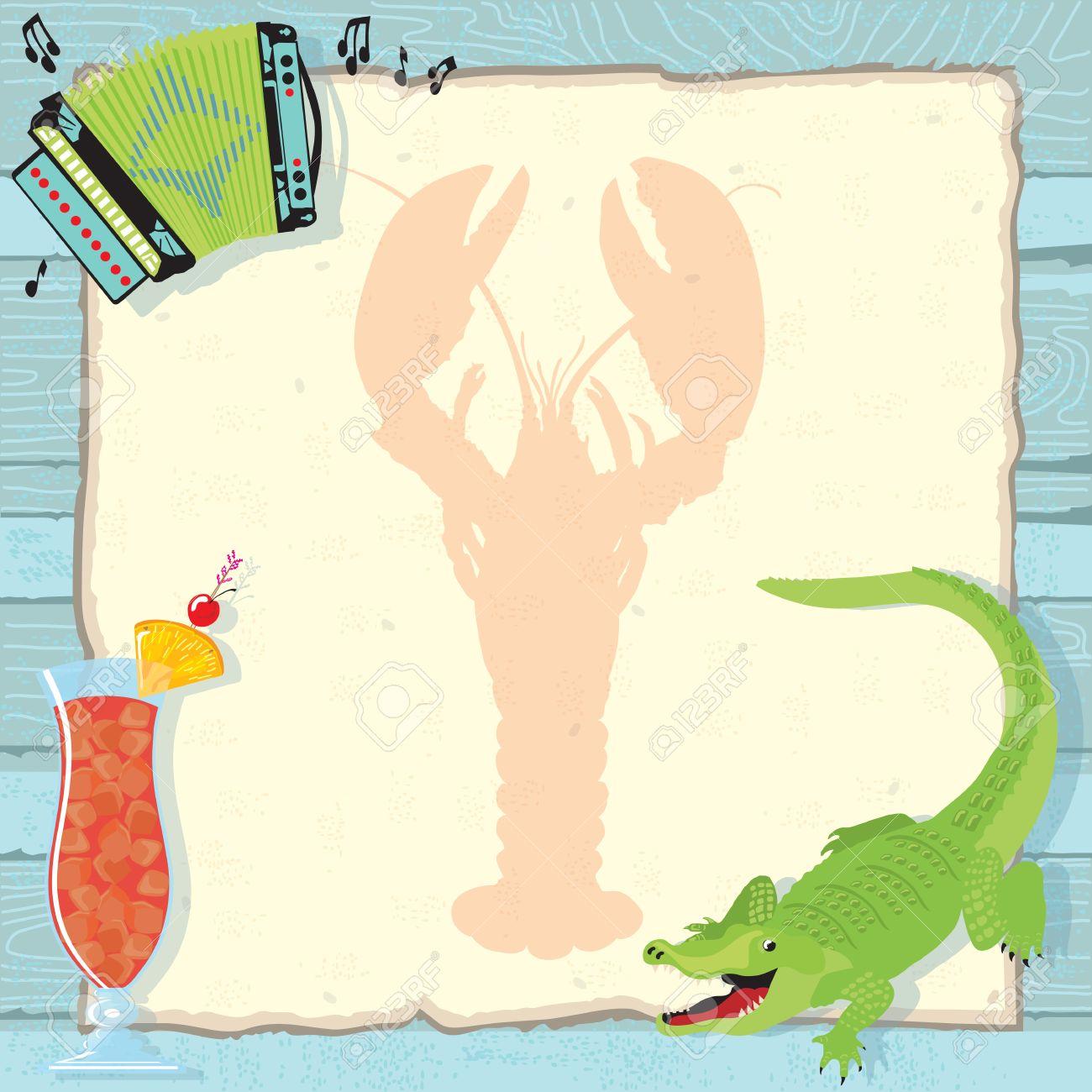 Fun Cajun lobster boil party invitation with accordion, alligator,...