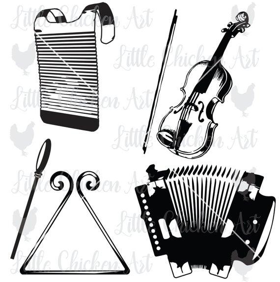 Cajun Musical Instruments, Cut File, Clip Art, SVG, Silhouette Cameo,  Cricut, ScanNCut, Fiddle, Accordion, Washboard, Triangle, Rubboard.