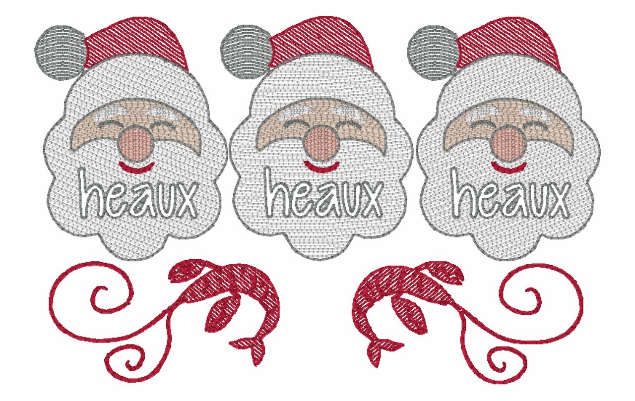 Santa Heaux Heaux Heaux Cajun Christmas Quick Stich Embroidery.