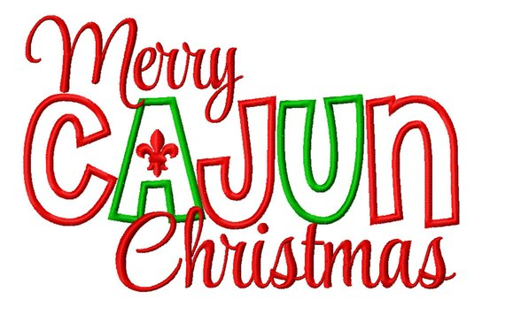 Merry Cajun Christmas Machine Embroidery Applique Design.