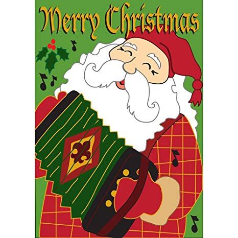 Merry Christmas Cajun Santa Claus 42 x 29 Rectangular Double Applique Large  House Flag.