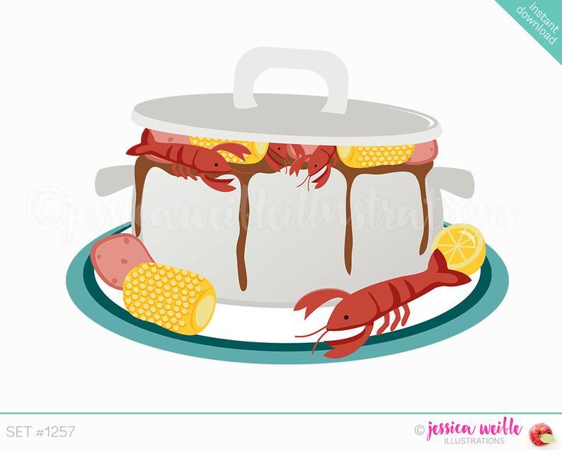 Instant Download Cajun Pot Cute Digital Clipart, Crawdad Boil Clip art,  Seafood Gumbo Graphics, Shrimp Boil, Cajun Boil Illustration, #1257.