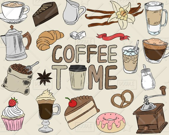 Coffee Clipart Vector Pack, Coffee Shop, Bakery, Cafe Clipart, Latte.