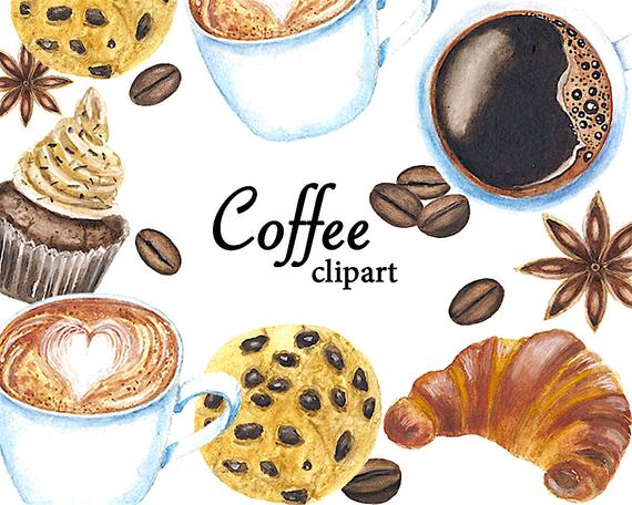 Coffee Clipart, Watercolor Clipart, Cake Clipart, Biscuit Clipart,  Croissant Clipart, Logo Cake, Set Invitation.