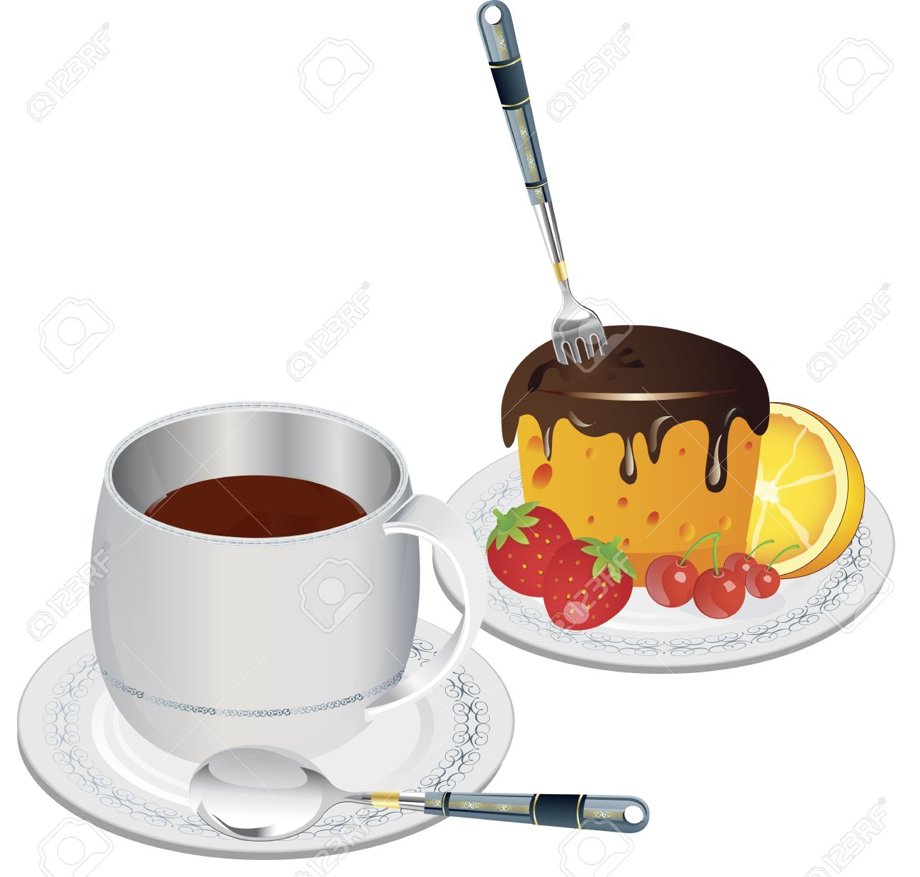 Clip art image of a cup of coffee and slice of fruit cake.