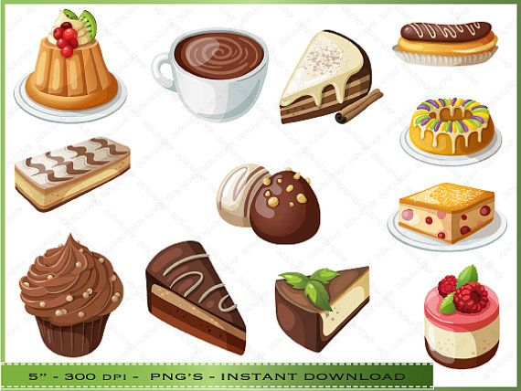 Desserts Clipart / Cake and Pie ClipArt / For Scrapbooking.