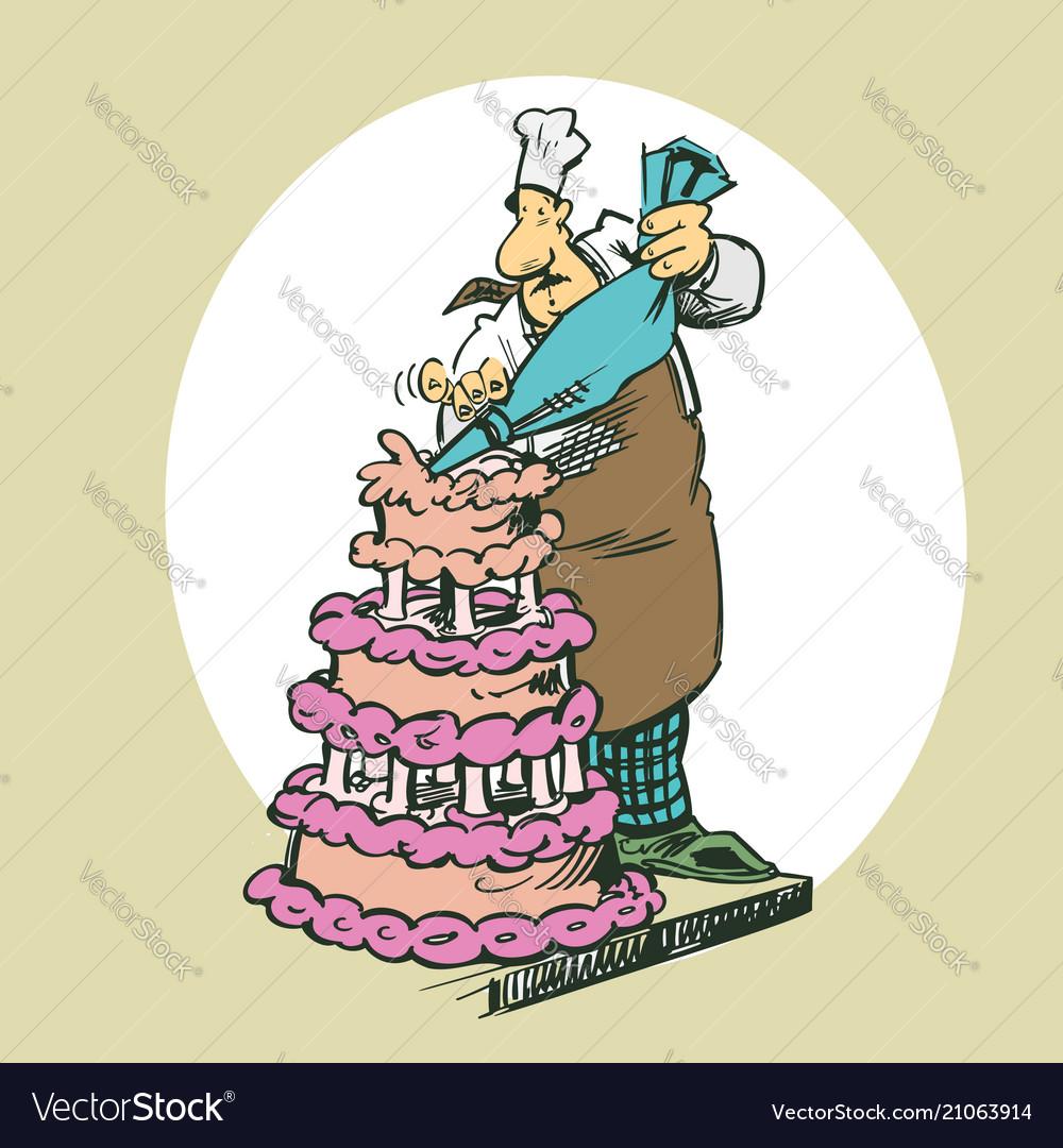 Baker making cakes clipart cartoon.