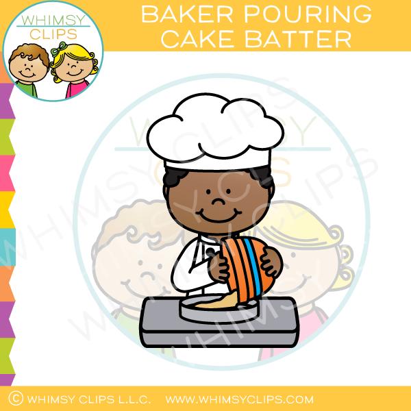 Baker Pouring Cake Batter Clip Art.