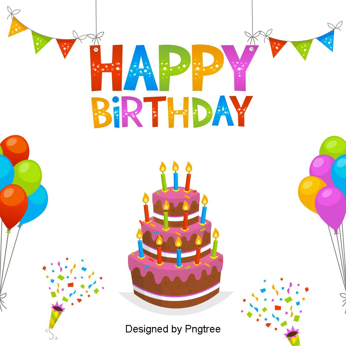 Multi Layer Birthday Cake, Birthday Clipart, Cake Clipart, Vector.