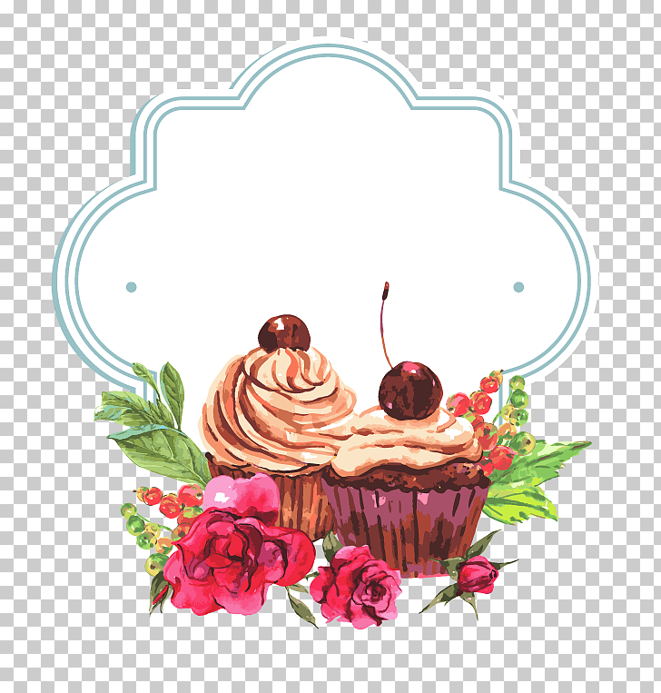 Cake Border, cupcakes with border illustration PNG clipart.