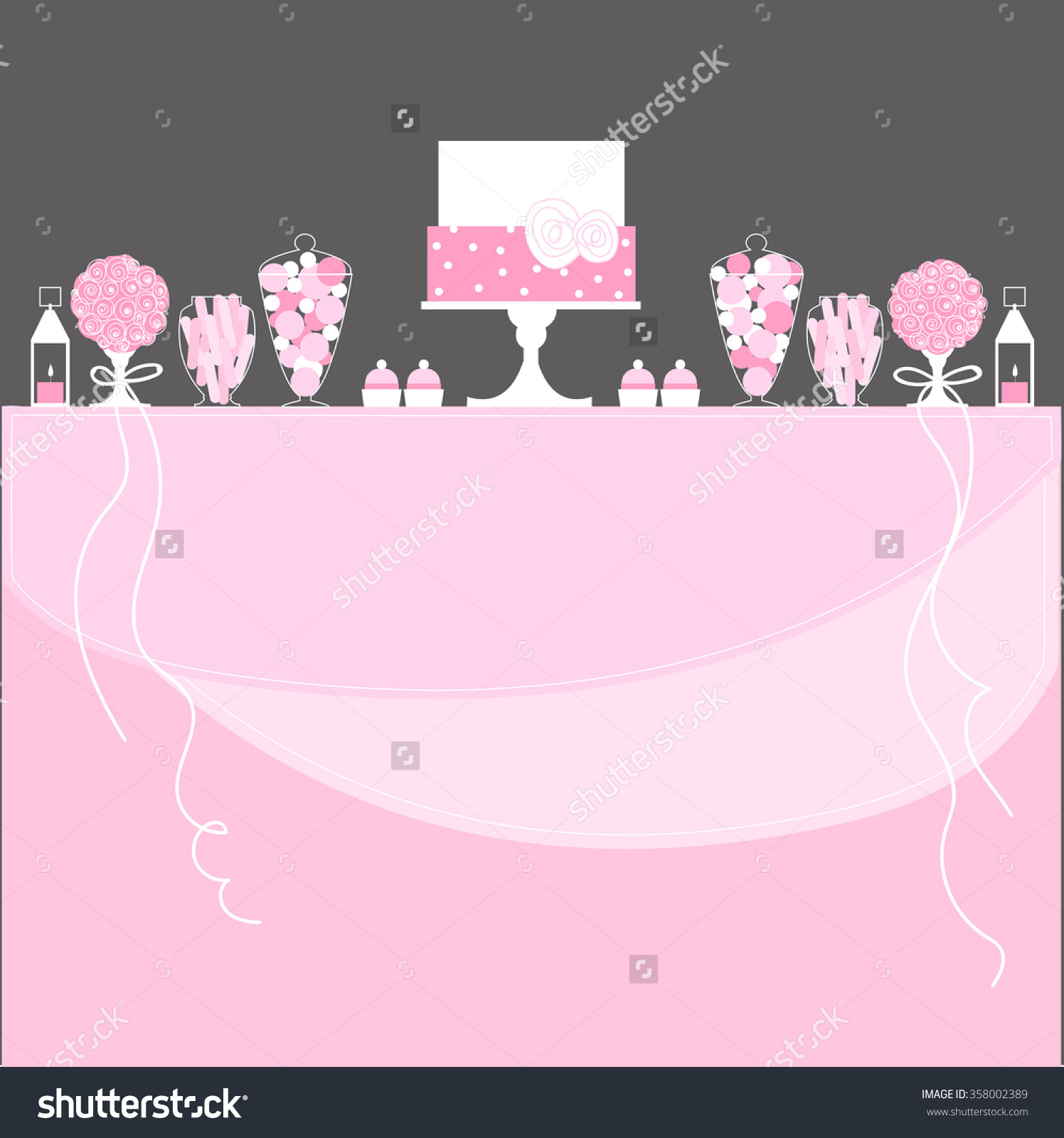 Candy Buffet Cake Lanterns Flowers Wedding Stock Vector 358002389.