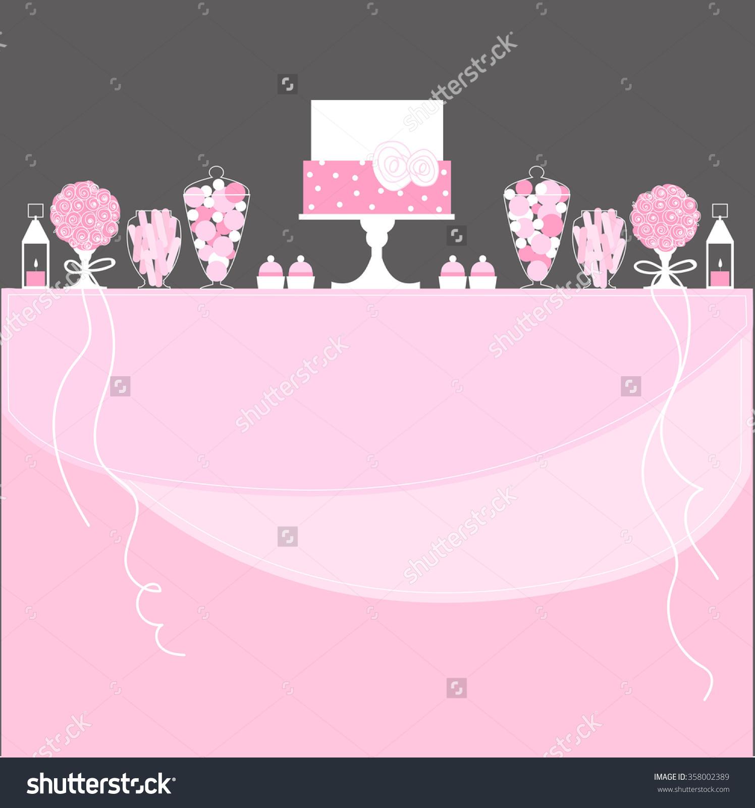 Candy Buffet Cake Lanterns Flowers Wedding Stock Vector 358002389.