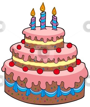 chocolate birthday cake recipe: Cartoon Birthday Cake Stock.