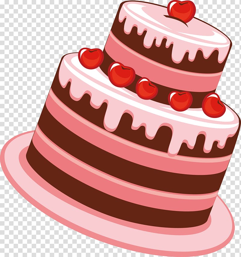 Brown and pink cake , Birthday cake Tea Cartoon, Cake.