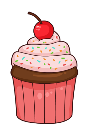 Cartoon Cupcake Pink transparent PNG.
