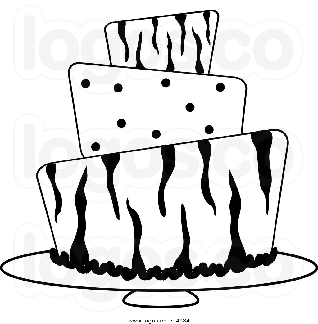 Birthday Cake Clipart Black And White No Candles.