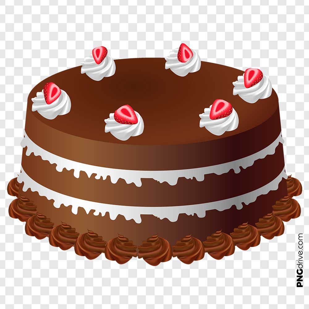 Birthday Chocolate Cake Clipart PNG Image.
