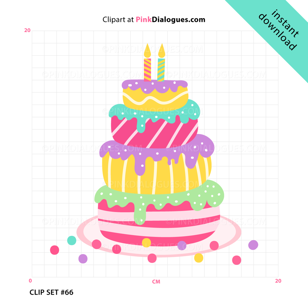 Cute Birthday Cake Clipart (Vector).