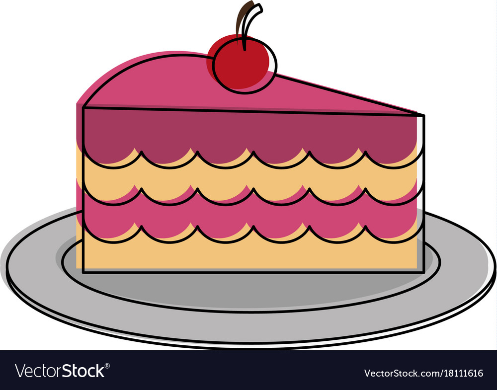 Cake slice with cherry on top pastry icon image.
