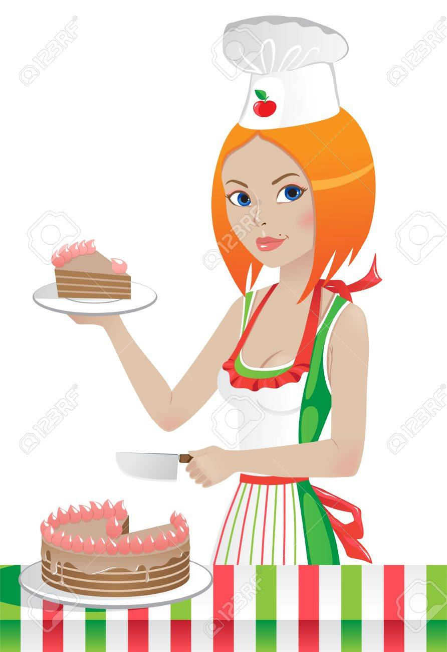 cute girl in a chef's hat cuts the cake.