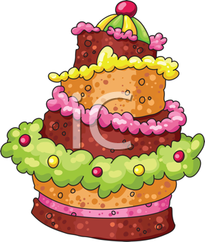 Royalty Free Clipart Image of a Decorated Layer Cake.
